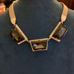 Henri Bendel Stone statement necklace leather NWT